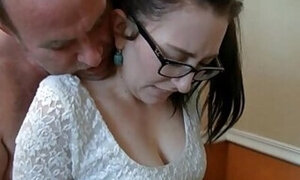 Nerdy young girl molested by her own father