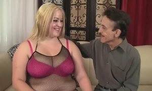 Super fat blond chick in fishnets gets cunt fucked