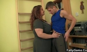 BBW fucks her fitness instructor
