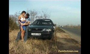 crazy amateur girl gets cum next to car xVideos