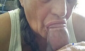 Old lady tasting her fist black cock in this one