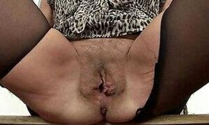 British GILF showing her tempting twat up close