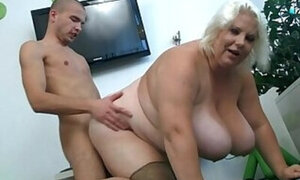 Fat slut with big boobs drilled on all fours