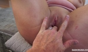 Stepdad plays with his stepdaughters pussy gets his cock sucked off in POV