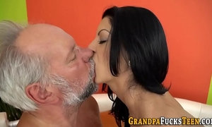 Brunette rides grandpa xVideos