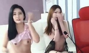 Korean lesbians in stockings sensual show