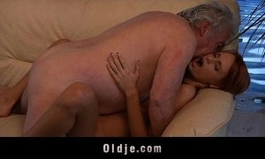 Grandpa lucky to fuck a sexy young redhead babe xVideos