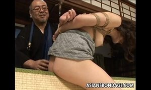 Tied up Asian babe gets spanked and dildo fucked xVideos