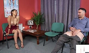 British Domina Instructs Naked Sub