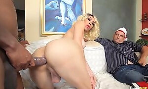 Black guy fucks hot shemale while cuckold watch