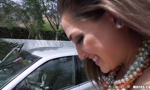 Teen Ashley Daily blows on drivers dick and rides cock outside to pay for a lift.