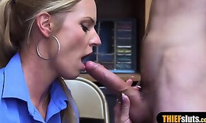 Horny mall cop seduces a thief dude after she caught him
