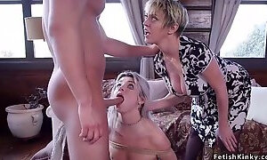 Huge tits milf gets breasts caned