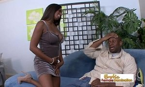 Curvy busty ebony slut fucks her horny daddy on the couch xVideos