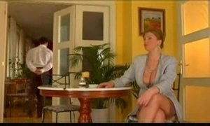 First class mature lady gets fucked by lucky waiter