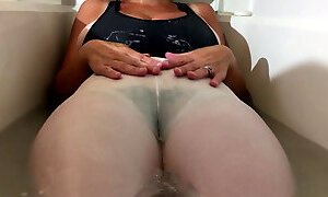 Spandex Angel - Shower in white spandex