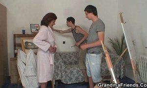 Naughty granny swallows two young dicks xVideos