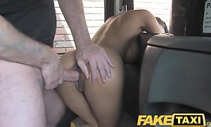 Naughty chick gets face fucked by the taxi driver