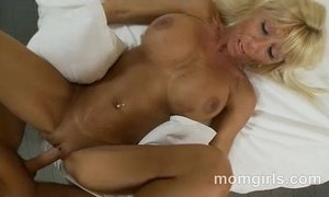 Busty blonde milf in pink top sucks and fucks dick