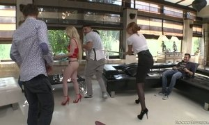 Kinky bitch Eva Berger and her assistant are fucked by several furious sex hungry studs