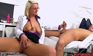 Hottie mommy handjob with cum shot