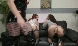 Whorish lesbian Bella Rossi and her assistant stretch anus of one nasty chick AnySex