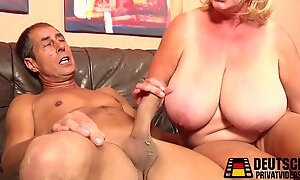Big old melons on blonde mature whore who desperately needs cock