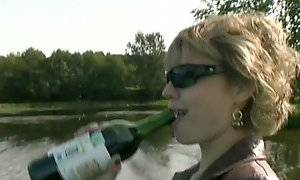 Drunk blond mature slut gonna please a cock on the boat AnySex