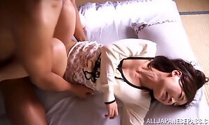 Pretty Japanese Cougar Enjoying A Hardcore Missionary Style Fuck In Her Bedroom