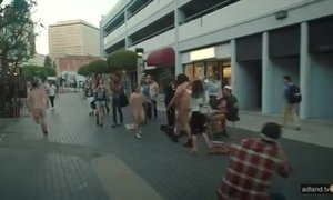Naked dancing in public. AnalDin