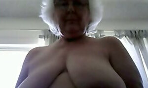 Ugly as fuck grey haired old webcam bitch flashed my buddy her melons