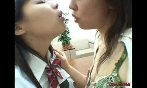 Asian Schoolgirls Kissing Licking And Sucking Nipples Teasing Clit Licking Hairy