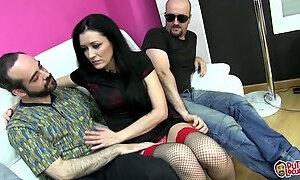 Spanish milf enjoys three dicks in a gangbang